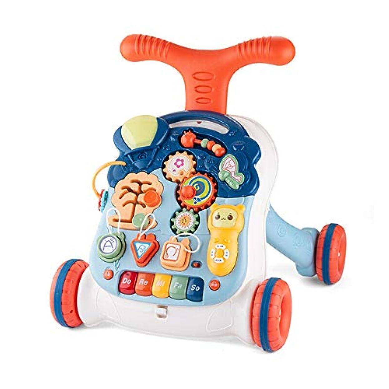 湿ったマットモチーフ手押し車 音楽ベビーウォーカー早期教育は6-30ヶ月の教育玩具のためのゲームテーブル学習ステップヘルパーロールオーバー防止を押してください 赤ちゃん 教育玩具 (色 : マルチカラー, サイズ : 41X36X44CM)