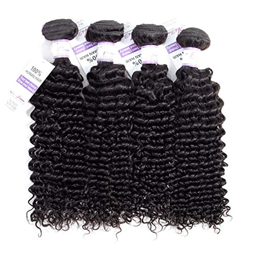 分子曲がった一致ブラジルのディープウェーブヘア織りバンドル100%人毛織りナチュラルカラー非レミー髪は4個購入することができます (Stretched Length : 20 22 24 24 inches)