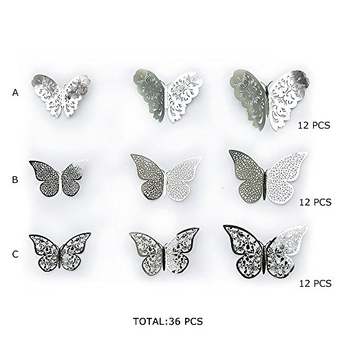 FLY SPRAY 36pcs Silver Butterfly Wall Decals - 3D Butterflies Hollow-Out Wall Stickers Metallic Removable Mural Decor DIY Decals Kids Girl Nursery Room Classroom Bedroom Living Room Home Decorations