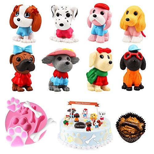 Vodolo (9個セット) 子犬ケーキトッパー パトロール犬ケーキトッパー 犬の足骨フォンダン シリコン型 子供 ベビーシャワー 誕生日ケーキデコレーション クリスマスギフト 犬の置物おもちゃ