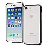 レイ・アウト iPhone8 / iPhone7 ケース Qi 充電 対応 アルミバンパー+背面パネル (クリア)ブラック RT-P14AB/BM