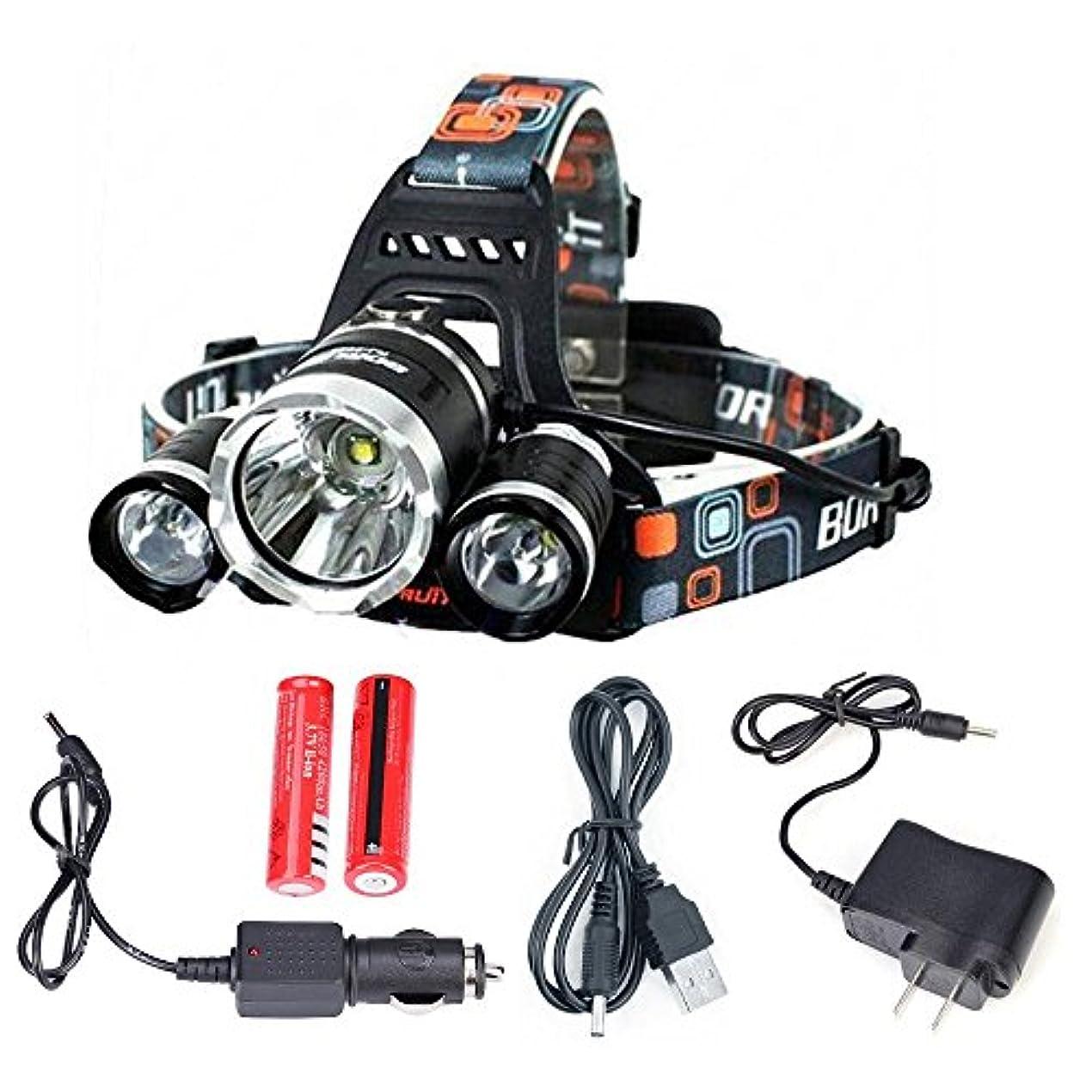 レタッチ下るラダDAN 6000ルーメン LEDヘッドライト CREE XM-L 3*T6 4点灯モード 超強力 防水 軽量 防災 登山 夜釣り ハイキング キャンプ