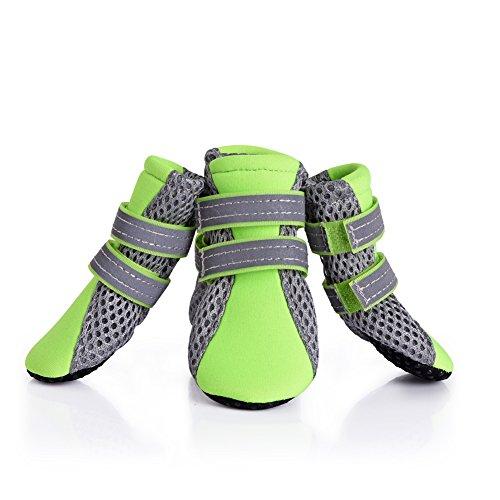犬の靴 犬靴 柔らかく軽く履きやすい メッシュシューズ 肉球保護 滑り止め 犬用靴 1袋4個入 L