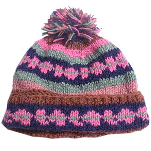 【ノーブランド品】 アジアン衣料 男女兼用 ネパール・手編みボンボン帽子 グレー BON-24