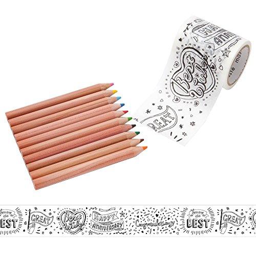 マークス ぬり絵ができるマスキングテープ 色鉛筆付セット 「マステ」 メッセージ MST-ZC03-D