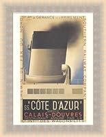 ポスター アドルフ ムーロン カッサンドル Cote d'Azur 額装品 ラルゴフレーム(ゴールド)