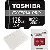 東芝 Toshiba プロフェッショナル最大読出/書込速度95MB/s microSDXC 128GB 超高速U3 4K アプリ最適化 Rated A1対応 + SD アダプター + 保管用クリアケース [バルク品]