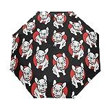 折りたたみ傘 自動開閉 レディース 犬 ペット 個性的 ブラック 軽量 携帯 日傘 ワンタッチ UVカット 頑丈な8本骨 耐強風 グラスファイバー 収納ケース付