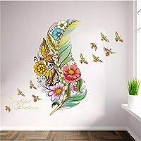3d鮮やかな羽蝶鳥フラワーアート女の子男の子子供部屋リビングルームの装飾pvc防水ウォールステッカーdiy壁画アップリケ45センチ×60センチ、A