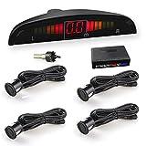 WIKOOL 高性能バックセンサー パーキングセンサー 12V車用 警報システム アラーム モニター付き 4個センサー(22MM) 探知機カーセンサー 通知音 日本語説明書付属 1年間保証 ブラック