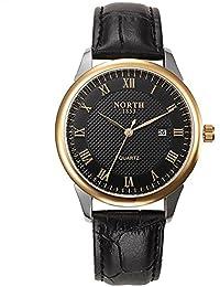 クォーツ 腕時計 PUストラップ スピード メーター風 ラウンドシミュレートされたレーシングダイヤル時計 黒 (ブラックゴールド)