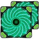 PCケース用ファン 静音タイプ 緑LEDを装着した 120mmファン 25mm厚 ラジエーターファン 1200rpm 12v 2個セット(グリーン)