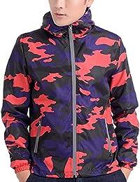 gawaga 男子ライト級アスレチック屋外フード付きウインドブレーカー迷彩ジャケット