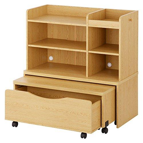 ランドセルラック 3点セット シェルフ デスク 収納ボックス キャスター付 本棚 ラック 木製 ナチュラル