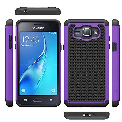 j12016ケース、Galaxy Amp 2ケース、Galaxy Express 3ケース、MCUK [衝撃吸収] Hybrid Dual Layer Armor Defender Protective Case With強化ガラススクリーンプロテクター Samsung Galaxy J1 2016