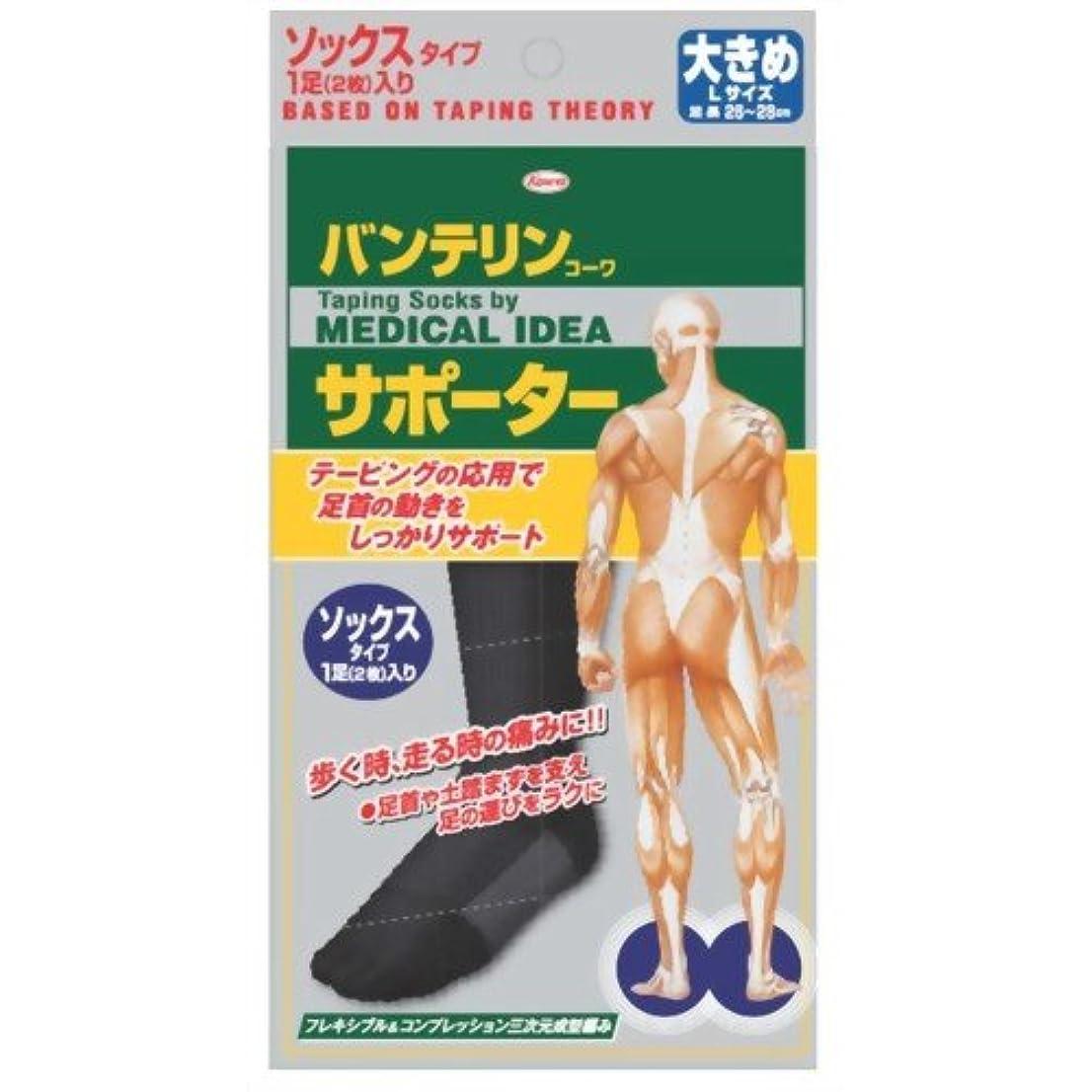 インサート打撃フェザーバンテリンコーワサポーター ソックスタイプ ブラック 大きめ(26~28cm) 1足(2枚入)