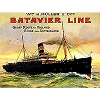 TRAVEL TRANSPORT SHIPPING LINE BATAVIER CHEAP BOAT SHIP 30X40 CMS FINE ART PRINT ART POSTER 旅行輸送船安いですボート船アートプリントポスター