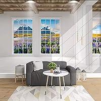 Xueshao 3D立体バルコニー窓ラベンダー風景リビングルームの寝室の背景装飾写真の壁紙-350X250Cm