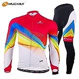 NUCKILY (薄 サイズ:XL) 春用 サイクルウェア 長袖 秋冬用 上下セット 6980620058244