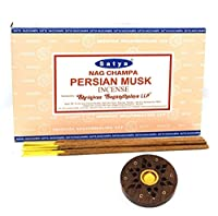Billion Deals-Satya Nag Champa Persian Musk Incense Sticks 15gX12pc (180g)+ Free Wood Stand