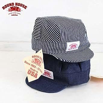 USA製 ROUND HOUSE ラウンドハウス キッズ用 ワーク キャップ 2カラー Made in USA Railroad Cap【並行輸入品】 (ヒッコリーストライプ)