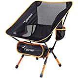 Camping Chair, Ultralight Portable Folding Sportneer Backpacking Chair, Compact and Heavy Duty 350 lb Capacity Outdoors, BBQ, BeOutdoors, BBQ, Beach, Travel, Picnic with 2 Storage Bags and Carry Bag, Height Adjustable