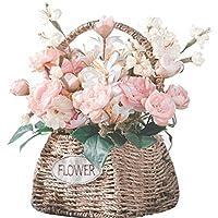 KUKUYA(ククヤ) 母の日 プレゼント 贈り物 手織りバスケット ハンドル付き 花かご フラワーポット 水草 フラワーバスケット フラワーストレージ 可愛い おしゃれ