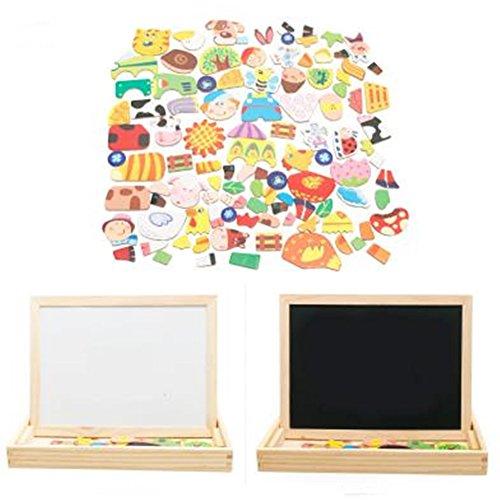 [해외]YOYURISE 교육 장난감 자석 스티커 자석 장난감 그림 그리기 보드 교육 마그네틱 퍼즐 (해바라기 무당 벌레 씨) 나무 자석 스티커 양면 그릴 교육 상상력 어린이 선물 출산 선물 케이스/YOYURISE educational toys magnetic sticker magnet toys dra...