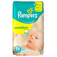 Pampers Swaddlers Diapers, Size N, 32 Count by Pampers
