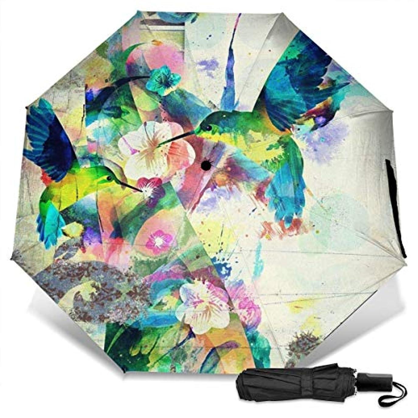 進捗トロリーバスクーポンハチドリの水彩画折りたたみ傘 軽量 手動三つ折り傘 日傘 耐風撥水 晴雨兼用 遮光遮熱 紫外線対策 携帯用かさ 出張旅行通勤 女性と男性用 (黒ゴム)