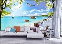 Bzbhart 3D壁画の壁紙壁画画像エーゲ海のビーチリゾートの装飾画 壁の壁画壁紙用壁-250cmx175cm