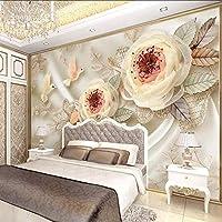Xbwy カスタム写真の壁紙高級ウェディングルーム3Dシルクフラワーバードレースリビングルームテレビの背景壁紙用ウォール3 D壁画の装飾-350X250Cm