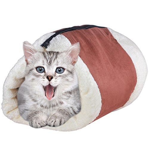 VOOPH(ブーフ) ペットベッド ペット寝袋 犬猫クッション ペットマット ふわふわ あったか ペットハウス キャットベッド 犬猫の巣 もこもこ フカフカ 愛犬愛猫 寝ぶくろ 犬猫兼用 柔らか モフモフ ふんわり わんちゃん 猫ちゃん 暖かい にゃんこ スクエア ベッド 布団 2WAY 折り畳み 保温 防寒 暖か 冬物 冬用 寒さ対策 水洗い可能 可愛い おしゃれ ネコちゃん 室内用 子犬 老犬 中小型ペットベッド トンネル形状(M、ブラウン)