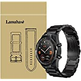 for TicWatch Pro Band Lamshaw Stainless Steel Metal Replacement Straps for TicWatch Pro Bluetooth Smart Watch (Black)