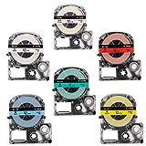 Airmall テープカートリッジ キングジム テプラPro用 12mm 6色の1セット テプラテープ SS12K ST12K SC12B SC12G SC12Y SC12R互換品 白 透明 赤 黄