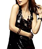 Yanuku Go La レディース スパンコール タンクトップ キャミソール ダンス 衣装 クラブ パーティ (ブラック)