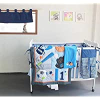 Winlife 8ピース赤ちゃん男の子女の子Neutralベビーベッド寝具セット漫画動物ベビーベッドシートFittedバンパーパッド ブルー mk1336