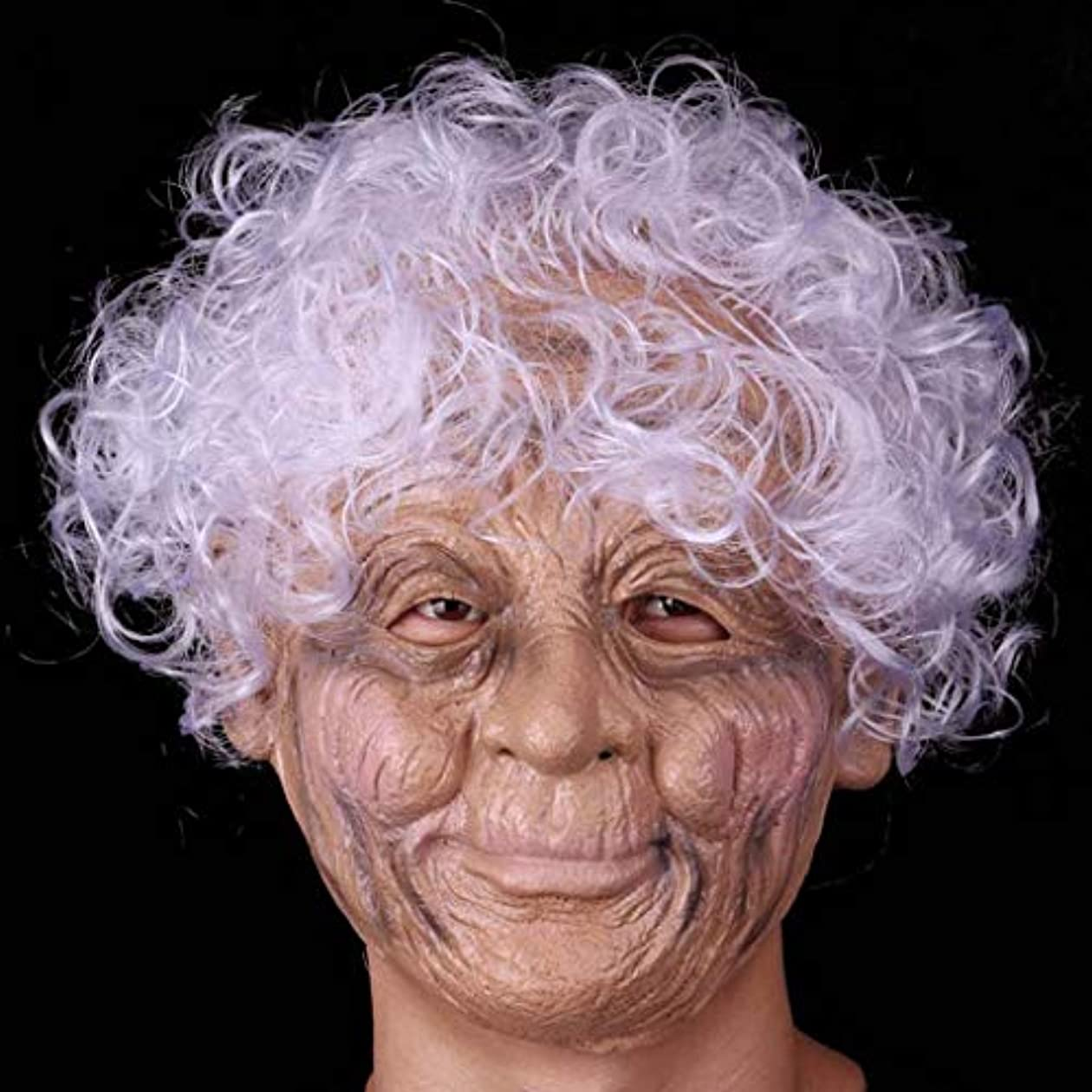 時代借りる持っているハロウィンラテックスフルフェイスマスクしわ魔女マスクおばあちゃんと白髪衣装プロップパーティーコスプレ