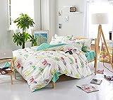 (H_X)多色可選 ベッドシーツ 掛け布団カバー 枕カバー 寝具 4点セット 花柄 シングル, 動物園