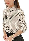 (フムフム) fumu fumu ブラウス 長袖 シャツ レディース 水玉 シフォン ファッション かわいい ビジネス きれいめ レディースファッション ドット スタンドカラー 春 夏 上品 ホワイト S M L XL (D. 水玉 ホワイト XL)