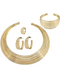 Womens Silver Gold Plated Alloy African Jewelry Set Multi-Layer Chain Choker Necklace Hoop Earrings Cuff Bangle Bracelet Ring Set