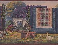 Chesapeake 乾燥ライン花のアヒル農家壁紙ボーダーレトロなデザイン、ロール15' X 8.5 市松カーペット