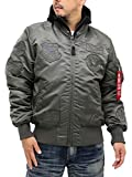 [アルファ インダストリーズ] 大きいサイズ メンズ フライトジャケット ミリタリージャケット MA-1 刺繍 ワッペン チャコール 5L