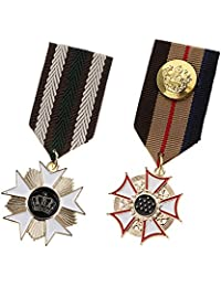 MagiDeal 2 Pieces Vintage Stripe Fabric Soviet Union Russia Badge Medal Star Military Uniform Costume Brooch