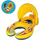 親子用 浮き輪 うきわ タンデムリング ボート 夏 一緒水遊ぼう 赤ちゃんも安心 2人用 水泳用品 (イエロー)