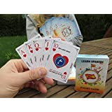 Spanish- Language Playing Cards Language Learning Game Set Fun Visual Flashcard Deck To Increase Vocabulary Skills - Learn Spanish Numbers and 52 Useful Phrases.