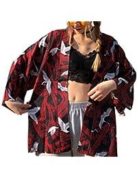 SuperWCZ カーディガン パーカー 男女兼用 鶴柄 羽織 和風 ボタンなし Tシャツ 薄手 七分袖 トップス おしゃれ カジュアル 通気性良い 夏