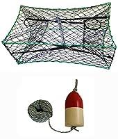 KUFA 亜鉛メッキ折りたたみ式カニトラップ 1/4インチ x 100フィート リードロープと6インチ x 14インチ レッド/ホワイト フロートコンボ