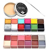 CCbeauty 4PC Set Special Effects Stage Makeup Wound Scars Wax + Oil Painting(flash color) + Spatula Tool