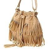 (グラート) GRART レディース 鞄 巾着 型 フリンジ ショルダー 斜めがけ ポーチ バッグ (キャメル)
